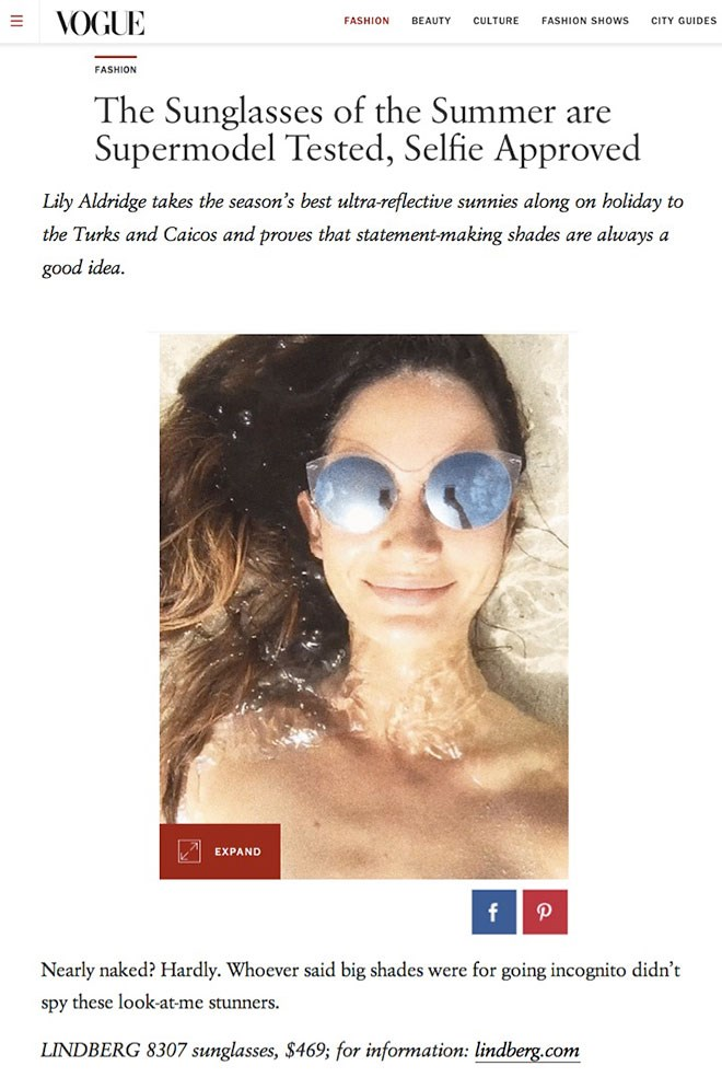 Super model Lily Aldridge in VOGUE.com with LINDBERG's look-at-me-stunners